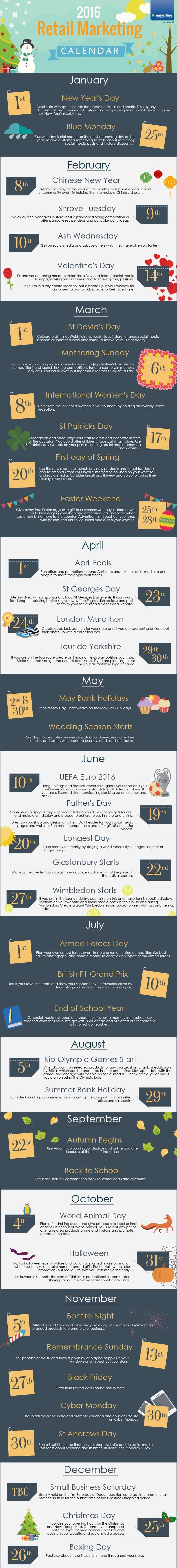 2016 events calendar for uk retailers