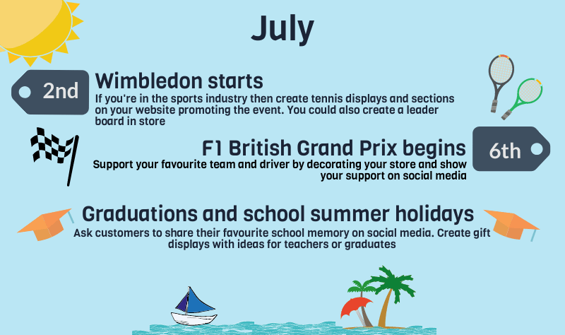 2018 events calendar for uk retailers - july