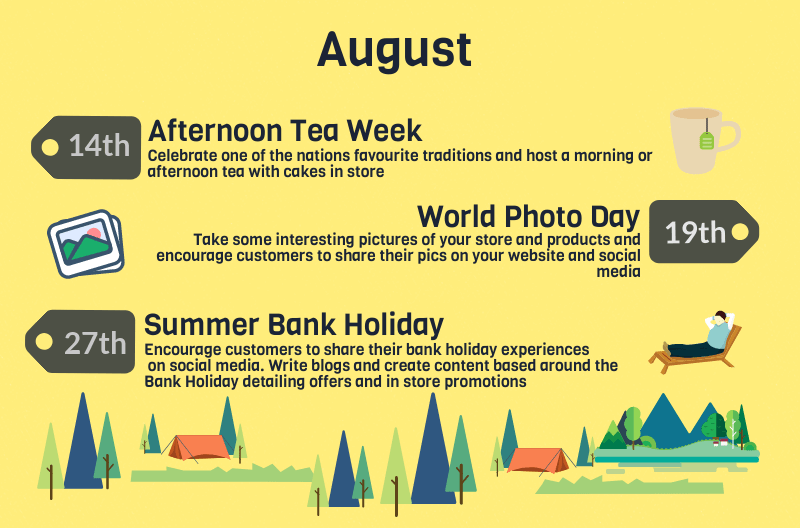 2018 events calendar for uk retailers - august