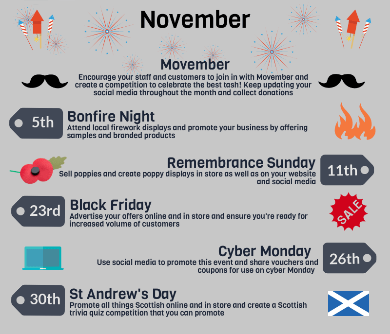 2018 events calendar for uk retailers - november