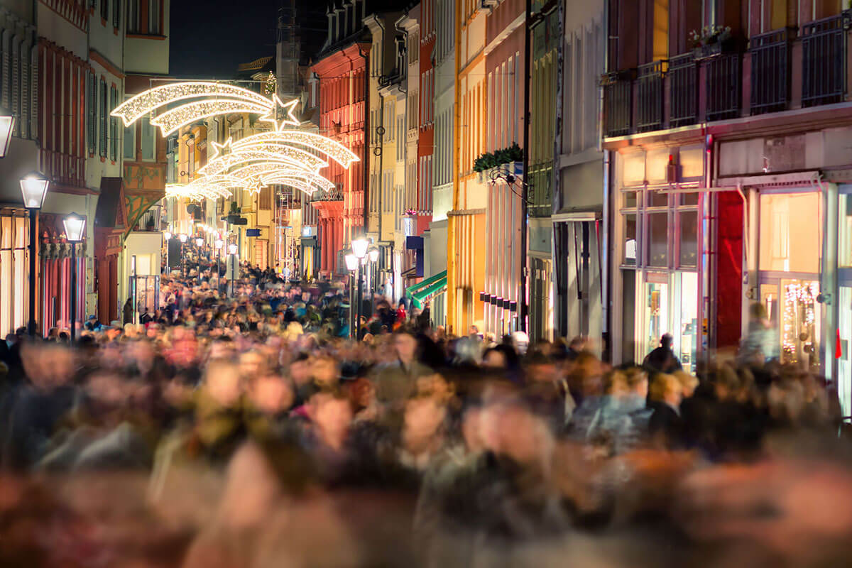busy high street on black friday
