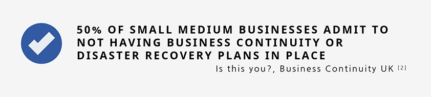 50% of small medium businesses admit to not having business continuity or disaster recovery plans in place