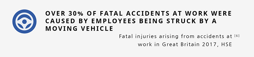 Over 30% of fatal accidents at work were caused by employees being struck by a moving vehicle